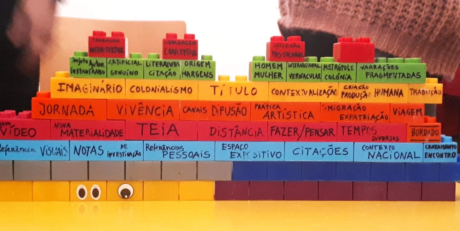 Construção em peças de lego com palavras escritas