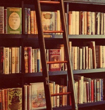 Estante de biblioteca com livros