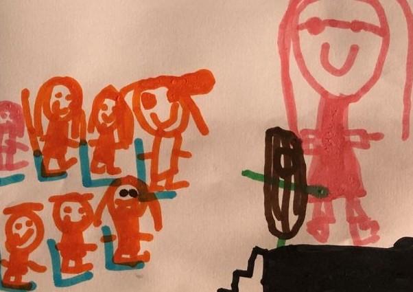 Desenho de muitos meninos feito por criança