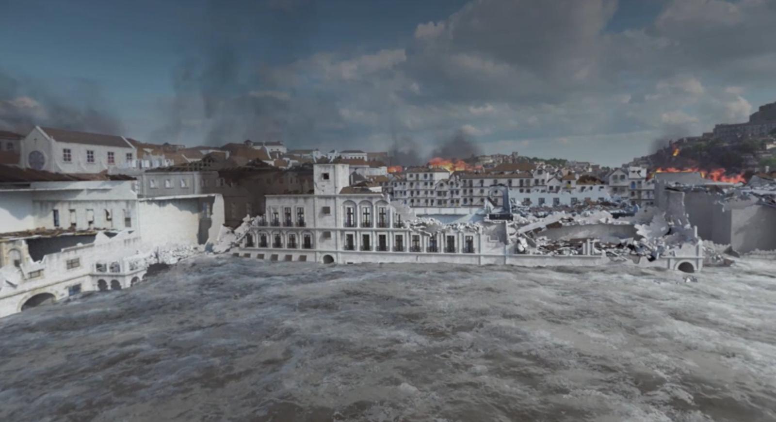 Simulação de terramoto e marmoto em Lisboa de 1755