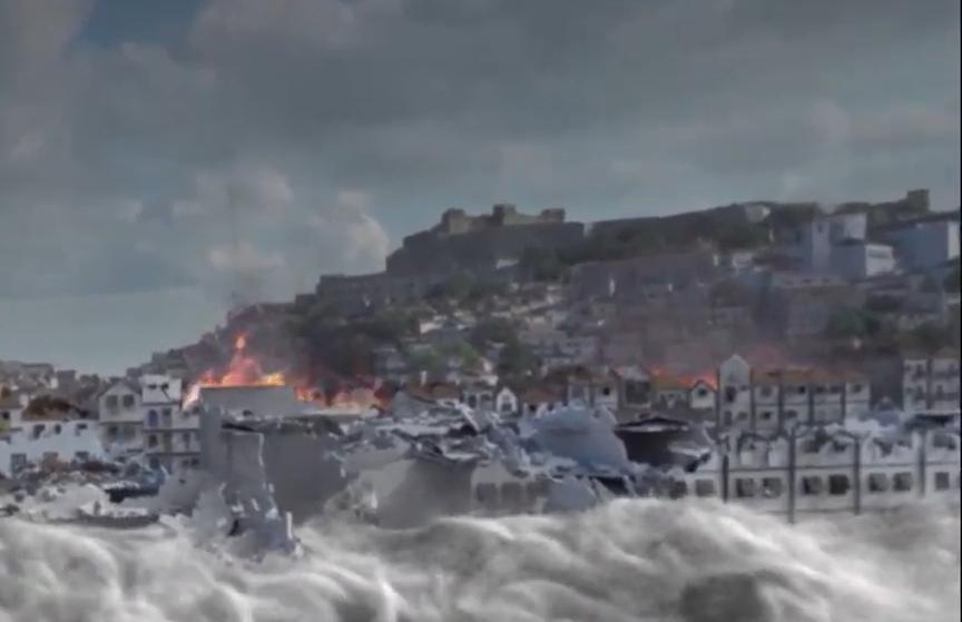 Inundação e fogo na Lisboa do terramoto de 1755