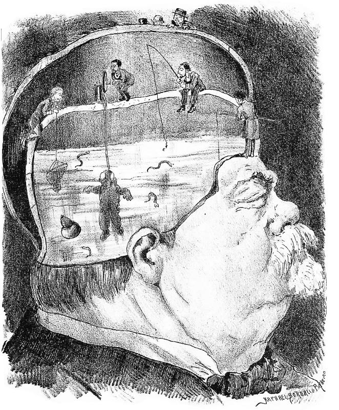 Desenho de cabeça com pessoas a pescar dentro dela