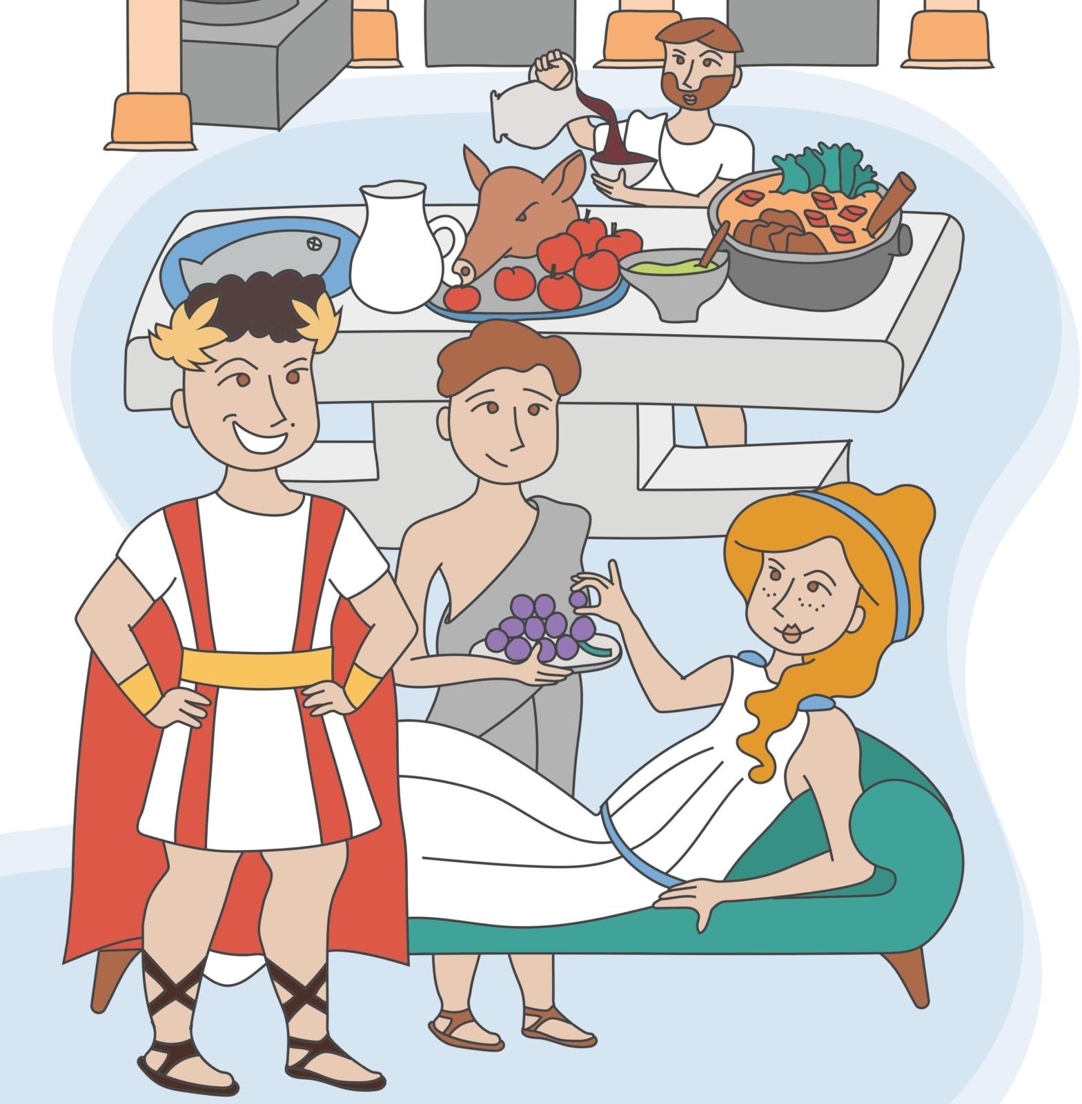 Ilustração de uma cena da vida romana - uma mulher sentada numa poltrona a ser servida por um empregado com uma bandeja de uvas, atras uma mesa com vários alimentos e um homem a deitar vinho para uma tijela, na frente um homem vestido de imperador