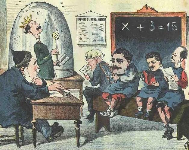 Desenho de Bordadlo Pinheiro com professor e alunos sentados à secretária