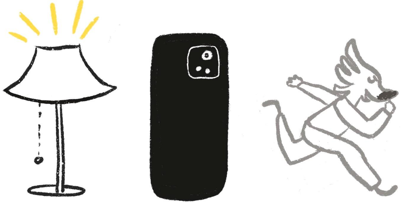 Candeeiro, telemóvel e figura humanizada a correr