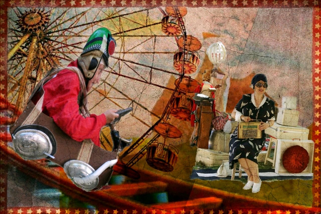 Imagem com homem mascarado, uma roda gigante de feira e uma mulher ao fundo sentada