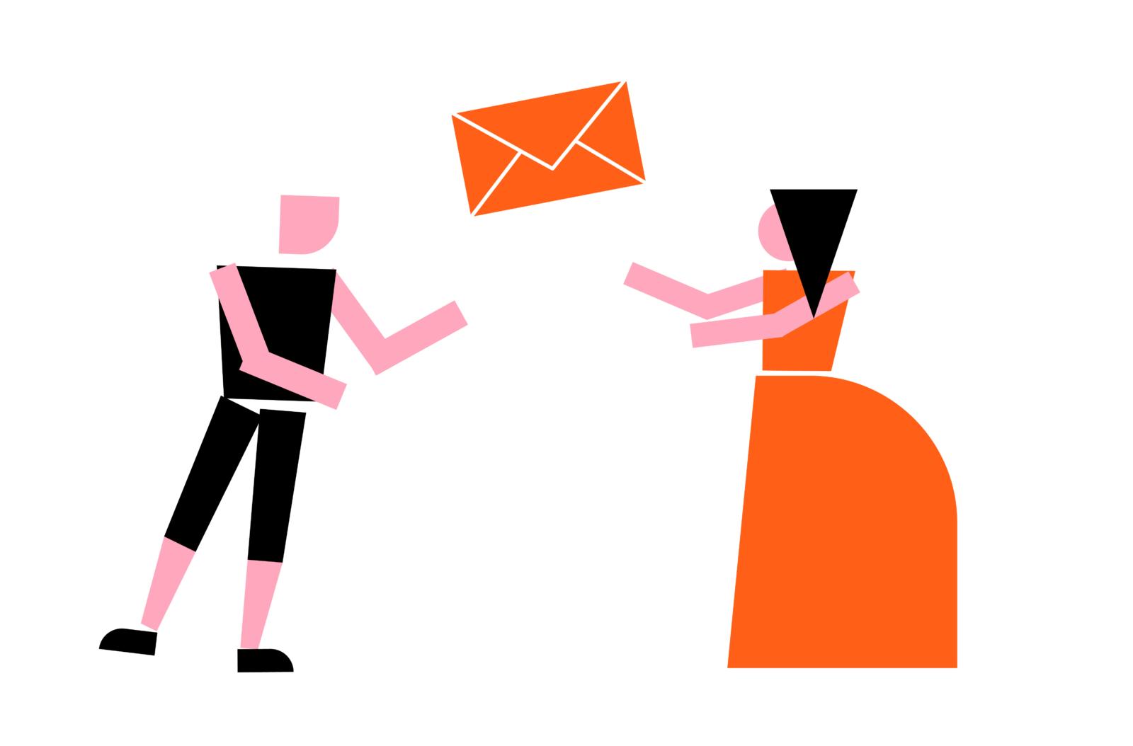 Desenho com um homem e uma mulher e um envelope entre eles