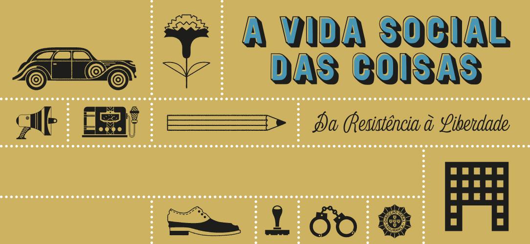 Cartão com desenhos alusivos ao tempo da ditadura e também da transição para a democracia: algemas, crachá da pide, cravo, etc